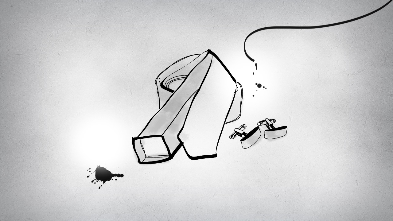 Mr Porter tie cufflinks drawing illustration