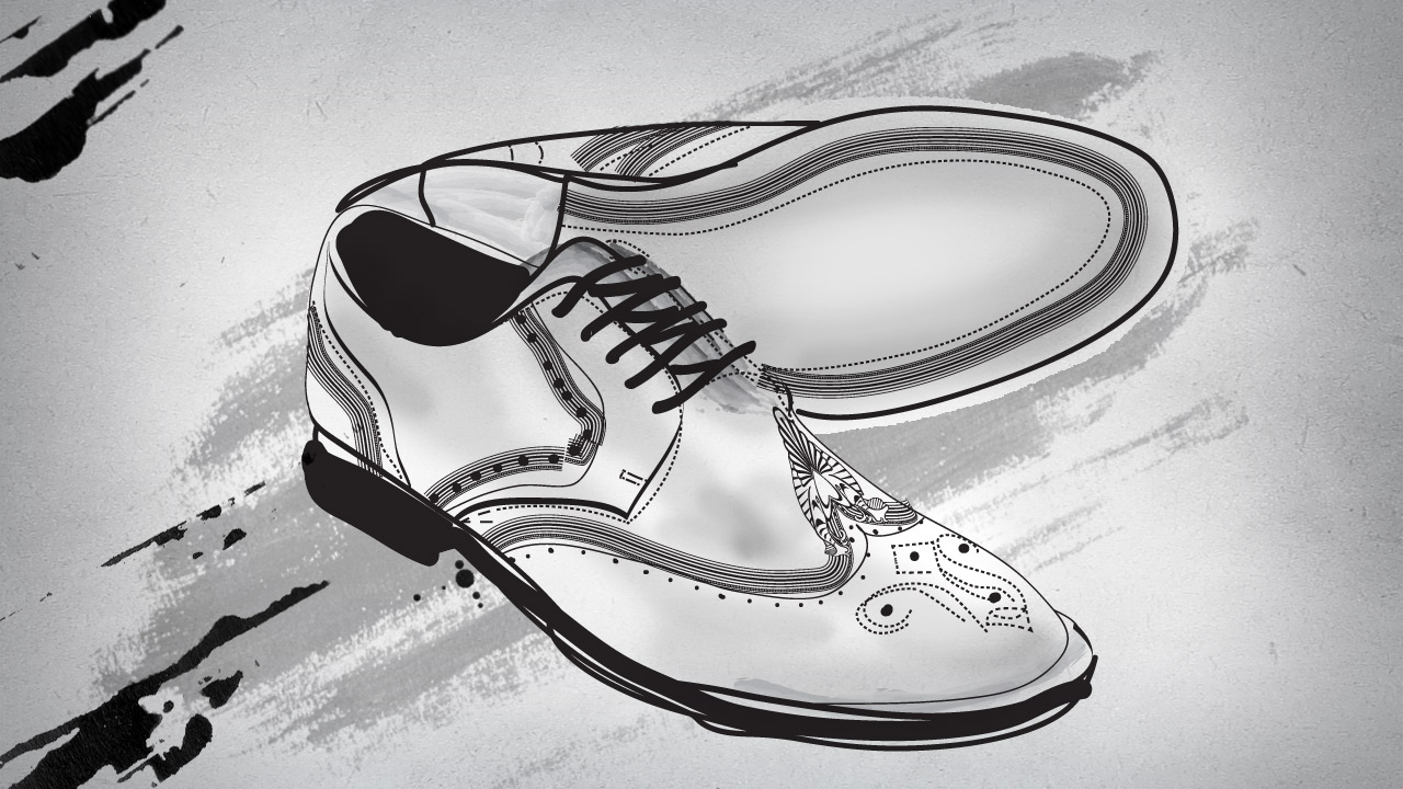 Mr Porter brogues shoes mens drawing illustration