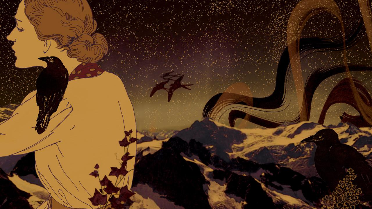 Aurora & the Crows | Exhibition Illustration
