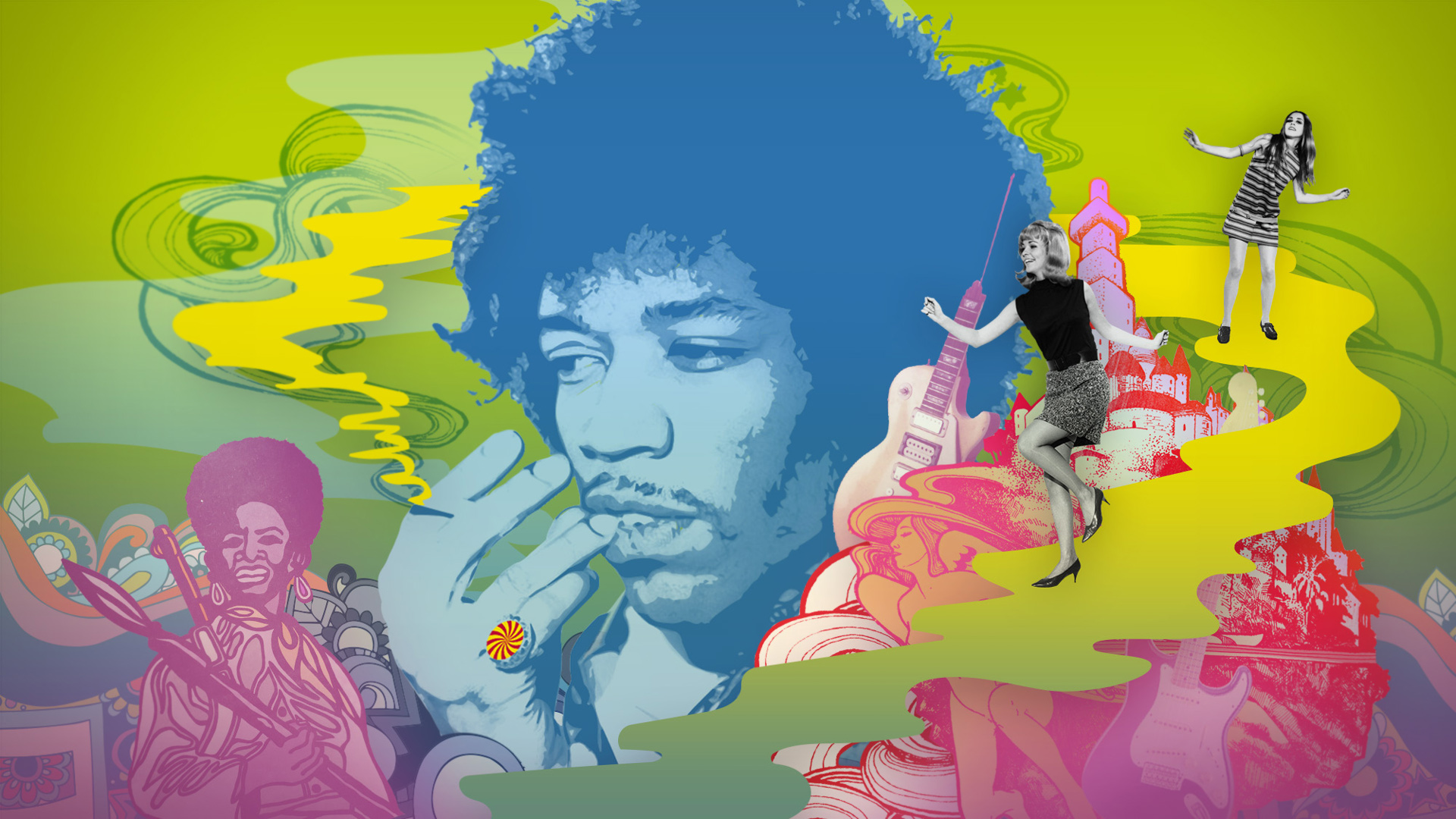 The V&A museum, Revolution exhibition, motion graphics design, london, 60's, sixties, records and rebels, roxanne silverwood, jimi hendrix, music